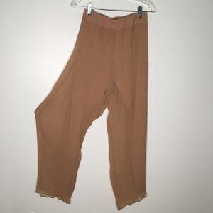 Soft Surroundings Crinkle Silk Wide Leg Pants